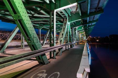 Pedestrian Path on a Bridge at Night Stock photo © rognar