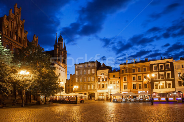 Old Town Square by Night in Torun Stock photo © rognar