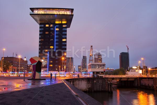 Rotterdam Cityscape akşam şehir merkez doğru Stok fotoğraf © rognar