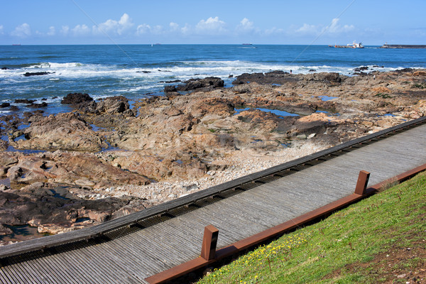 Wooden Promenade Along the Ocean in Porto Stock photo © rognar