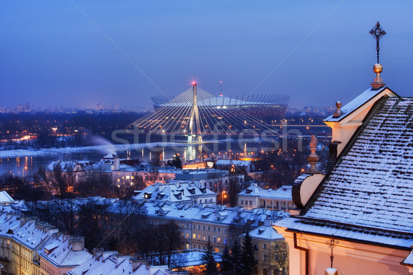Ville Varsovie hiver cityscape Pologne Photo stock © rognar