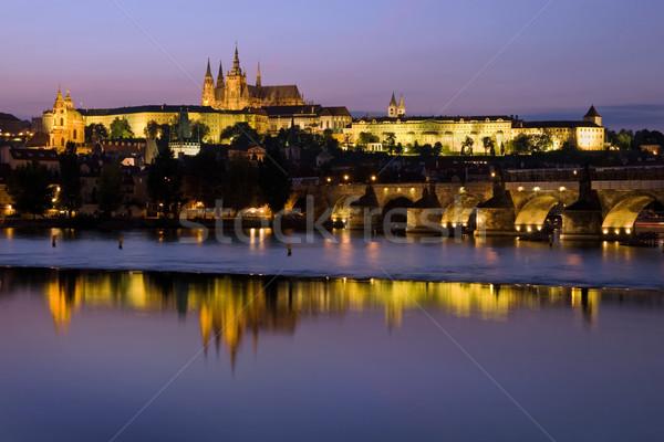 Prague Castle at Dusk Stock photo © rognar