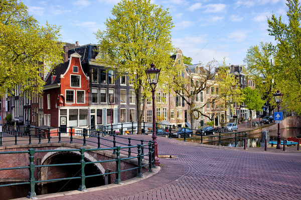 Dutch Canal Houses in Amsterdam Stock photo © rognar
