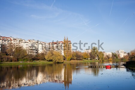 Apartment Houses by the Lake in Warsaw Stock photo © rognar