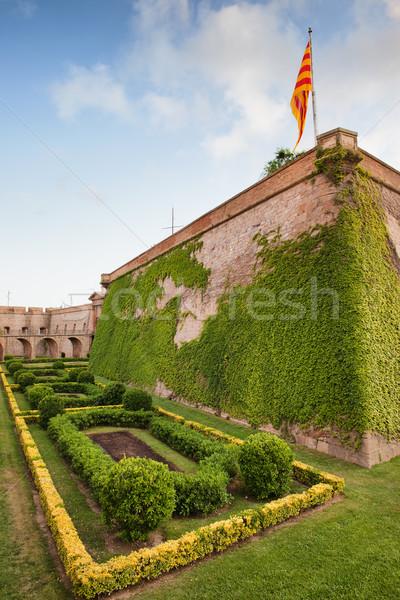 城 バルセロナ 草 庭園 植物 軍事 ストックフォト © rognar