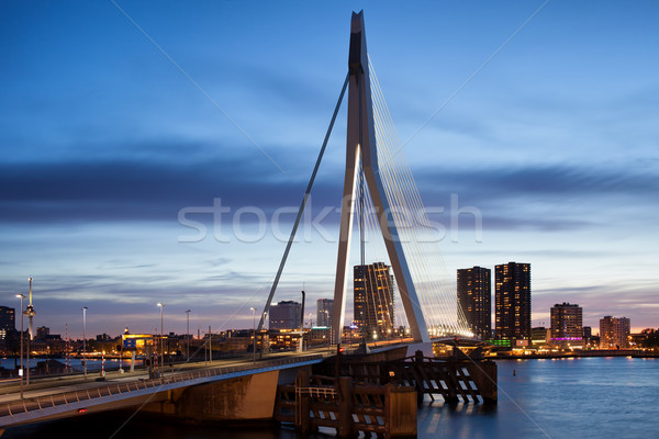 Stock photo: Erasmus Bridge and City Skyline of Rotterdam at Dusk