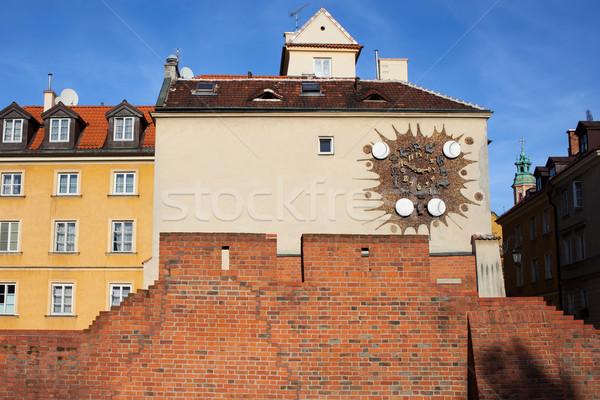 старый город Варшава квартиру зданий укрепление Польша Сток-фото © rognar