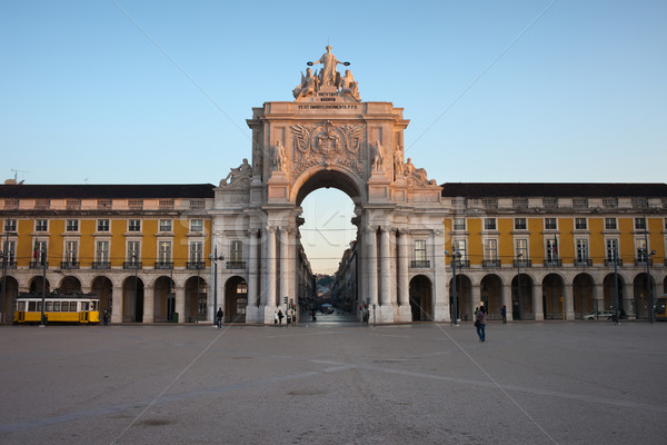 Rua Augusta Arch at Sunrise in Lisbon Stock photo © rognar