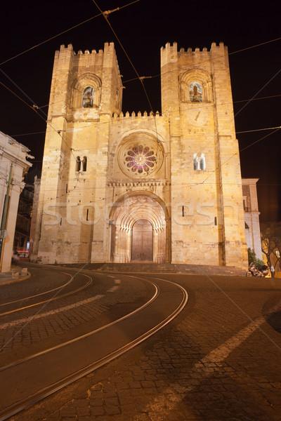 Lisbona cattedrale notte Portogallo Foto d'archivio © rognar