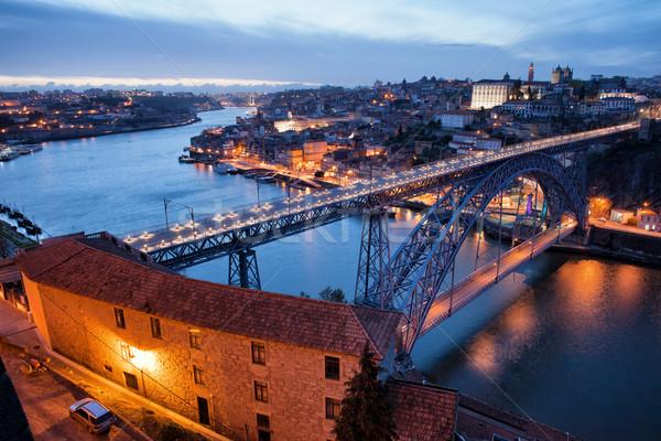 Cityscape Portugal crépuscule pont rivière ville Photo stock © rognar