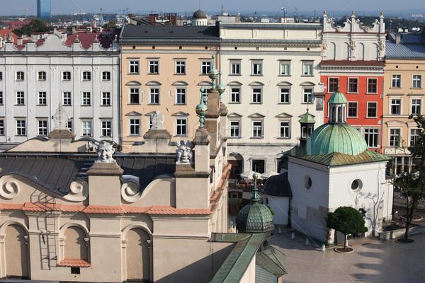 Barrio antiguo casas cracovia Polonia ciudad centro Foto stock © rognar