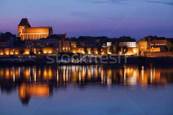 Notte fiume città Polonia città vecchia Foto d'archivio © rognar