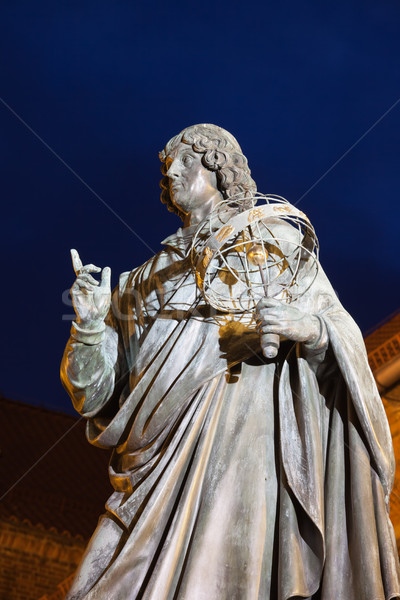 Nicolaus Copernicus Monument at Night in Torun Stock photo © rognar