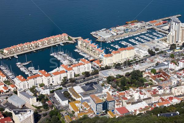 Gibraltar marina widok z lotu ptaka port obudowa południowy Zdjęcia stock © rognar