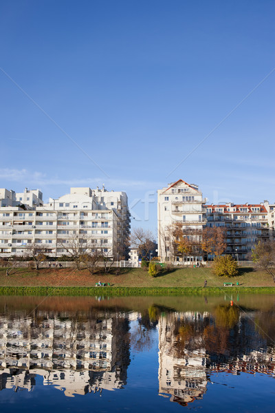 Lakeside Apartment Buildings in Warsaw Stock photo © rognar