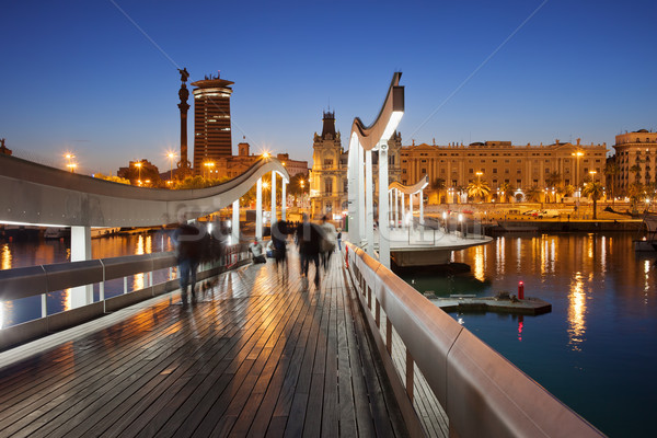 Rambla del Mar over Port Vell in Barcelona at Night Stock photo © rognar
