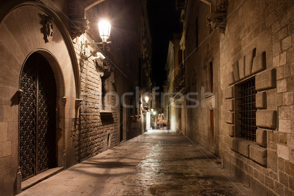 Street in Gothic Quarter of Barcelona at Night Stock photo © rognar