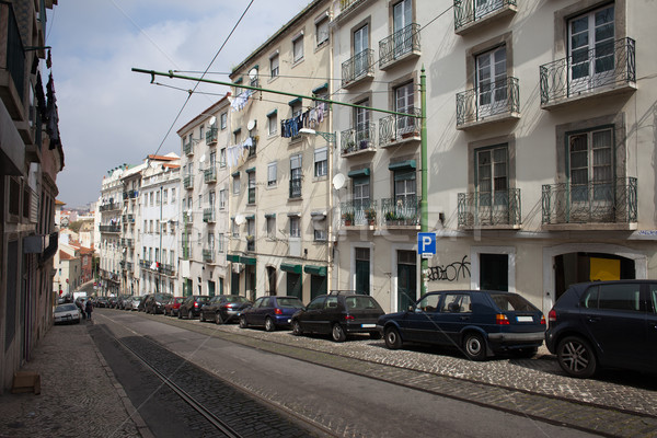 улице старые квартал Лиссабон Португалия здании Сток-фото © rognar