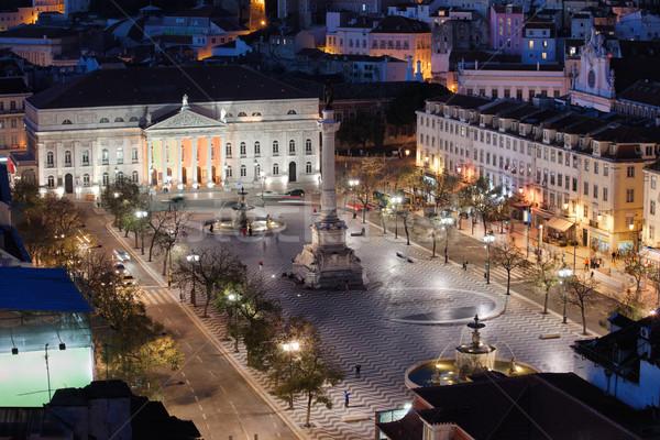 Rossio Square at Night in Portugal Stock photo © rognar