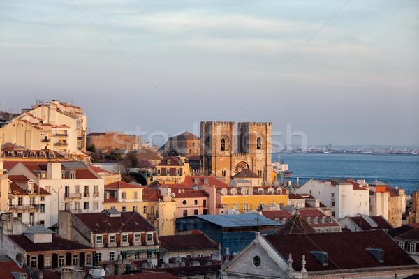 Lisbonne Skyline coucher du soleil ville Portugal vieille ville Photo stock © rognar