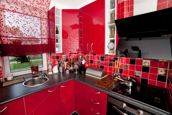 Modernes cuisine troite rouge design maison for Cuisine etroite design