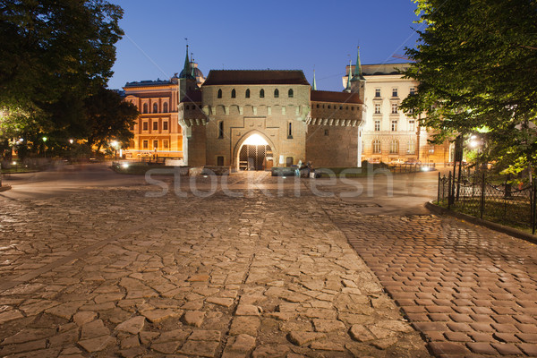 Barbican by Night in Krakow Stock photo © rognar