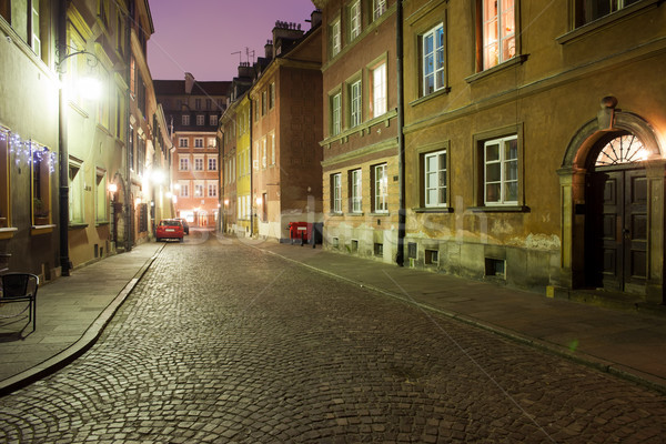 Night in the Old Town of Warsaw in Poland Stock photo © rognar