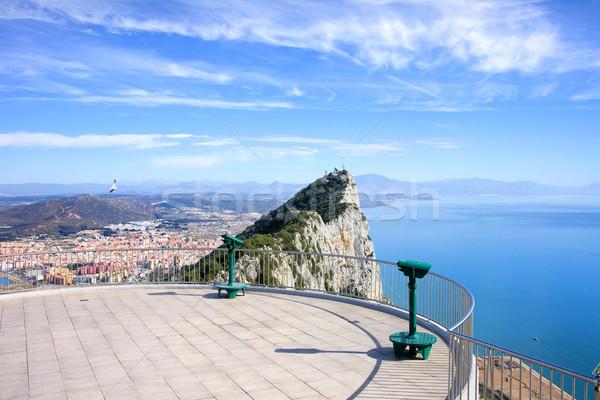 Gibraltar rock punkt widoku górę daleko Zdjęcia stock © rognar