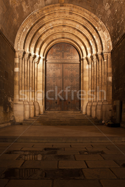 Portal of the Lisbon Cathedral at Night in Portugal Stock photo © rognar