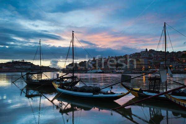 Stockfoto: Stad · avond · Portugal · traditioneel · vracht · boten