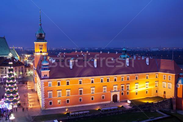 королевский замок Варшава ночь Рождества Сток-фото © rognar