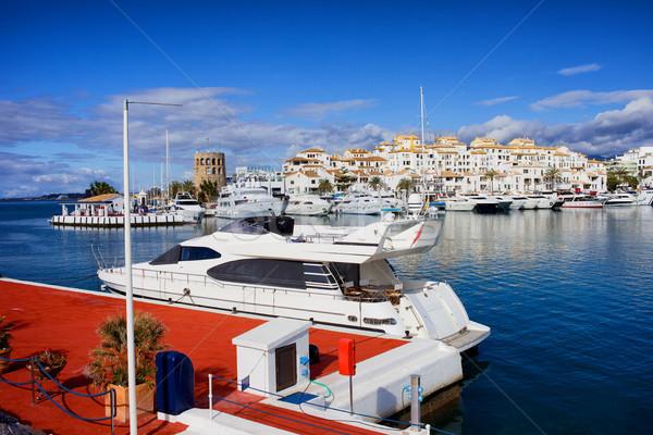 Jachthaven Spanje boot schip ontspannen skyline Stockfoto © rognar