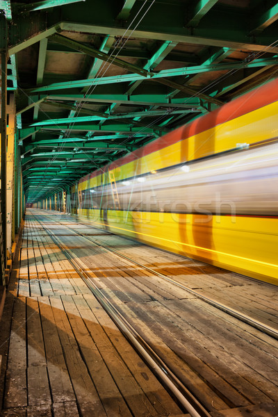 Abstract Tram Light Trail on a Bridge Stock photo © rognar