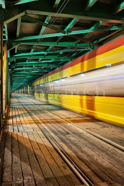 Streszczenie tramwaj świetle szlak most obniżyć Zdjęcia stock © rognar