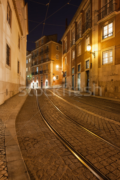 Street at Night in the City of Lisbon Stock photo © rognar
