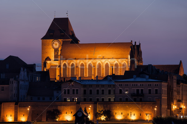 Torun Cathedral at Night in Poland Stock photo © rognar