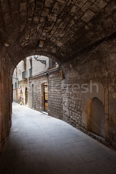 Arched Passage of Barri Gotic in Barcelona Stock photo © rognar