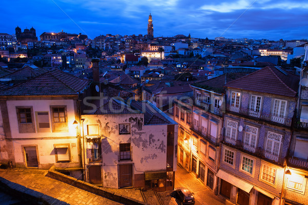 Stockfoto: Oude · binnenstad · Portugal · schemering · avond · historisch