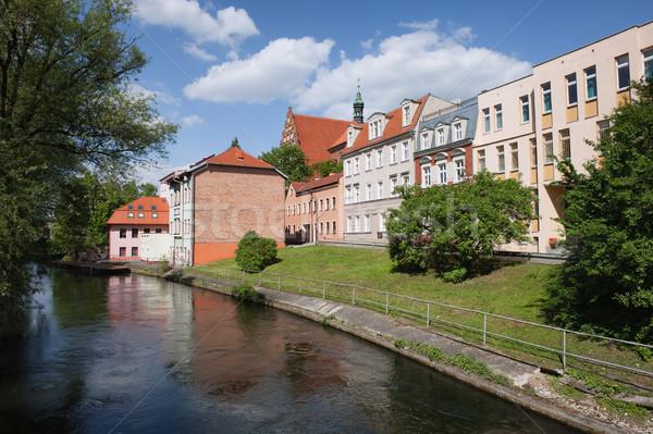 Stad rivier Polen gebouwen water home Stockfoto © rognar