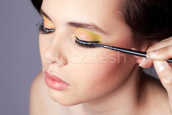 Make professionele jonge vrouw gezicht ondiep Stockfoto © rognar