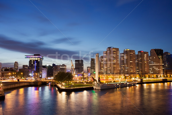 Rotterdam Skyline at Night in Netherlands Stock photo © rognar
