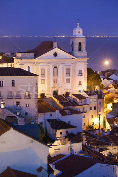 Old City of Lisbon at Night in Portugal Stock photo © rognar