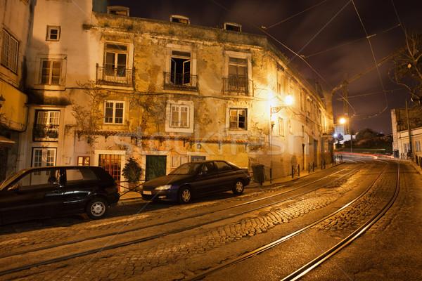 Oude stad Lissabon Portugal nacht beroemd Stockfoto © rognar