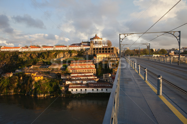 Ponte Luis I and Serra do Pilar at Sunset in Portugal Stock photo © rognar