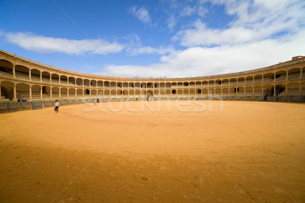 Aréna kinyitott egy híres Spanyolország égbolt Stock fotó © rognar