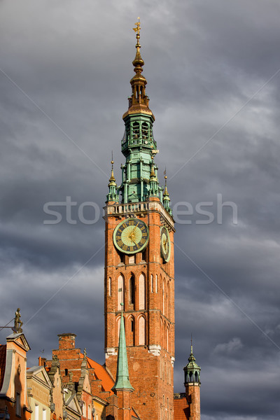Horloge tour mairie gdansk vieille ville Pologne Photo stock © rognar