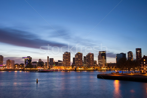 Stock photo: City of Rotterdam River View at Dusk