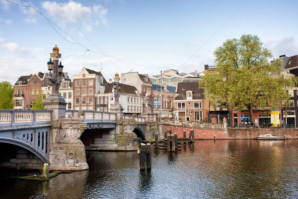 Stockfoto: Amsterdam · Blauw · brug · rivier · noorden · holland