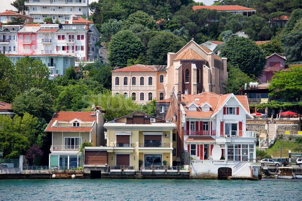 Waterside Houses Along The Bosphorus Strait Stock photo © rognar