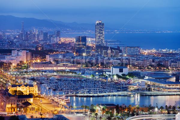 Barcelona Cityscape by Night Stock photo © rognar
